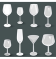 Set of glass wine glasses and champagne for a vector image vector image