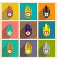 Modern flat icons collection with long shadow hand vector image