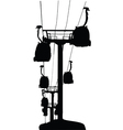 Cable-cars silhouette vector image