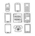 Doodle Phones Set Old modern smartphones - vector image