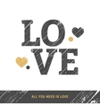 Love scratched letters vector image