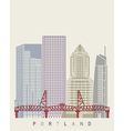 Portland skyline poster vector image