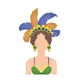 Samba dancer icon in cartoon style isolated on vector image