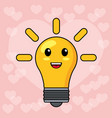 kawaii bulb light smile vector image
