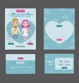 colorful wedding invitations postcards set vector image