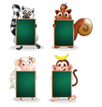Animals holding empty boards vector image vector image