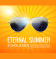 realistic fashionable aviator sunglasses poster vector image