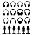 headphones and microphones vector image