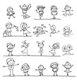 cartoon character kids playing vector image