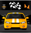 Yellow street racing car with sport checkered flag vector image vector image