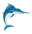 Jumping big blue marlin fish vector image vector image