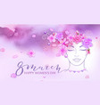 beautiful woman watercolor pink background vector image