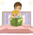 young mother reading tale story to her son vector image