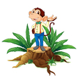 A stump with a male monkey vector image
