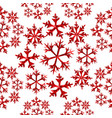 winter snowflake red low poly seamless pattern vector image