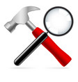 hammer and magnifying glass on white background vector image vector image