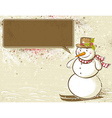 background with snowman and label for message vector image