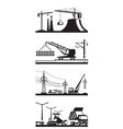 Different types of construction scenes vector image vector image