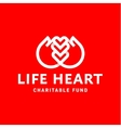Hands and heart line logo flat style trend vector image