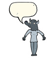cartoon werewolf woman with speech bubble vector image