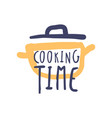 cooking time hand drawn logo design vector image