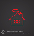 cozy home outline symbol red on dark background vector image