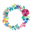 Floral wreath with simple color flowers vector image