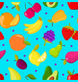 summer tropical fruits seamless background vector image