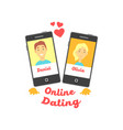 two smartphones with man and woman characters vector image