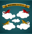 wild horse icon set vector image