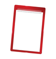 notebook blank with spiral red vector image