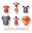 set of six Safari animals on white background vector image