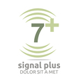 Logo Signal Number 7 Plus Green Figure Wireless vector image