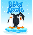Penguins standing on ice vector image vector image