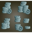 Set Of Silver Coin Piles For Game vector image