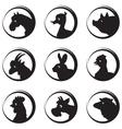 Animals farm silhouette icon set vector image
