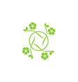 circle green leaf beauty logo vector image