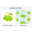 Dinosaur seamless pattern and vector image