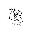hand holding simple line icon cleaning thin vector image