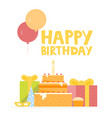 happy birthday card design with ballons confetti vector image