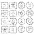 Love heart doodle brushesValentinewedding frame vector image