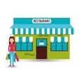 buyer girl shopping bags gift vector image