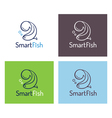 Smart fish logo template set vector image vector image