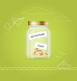 money jar with coins travel fund financial vector image
