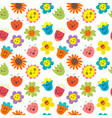 Seamless pattern with funny and happy flowers Cute vector image
