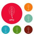 apple leaf icons circle set vector image