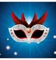 carnival mask with red feathers lights blue vector image