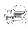 dump truck with load in monochrome silhouette vector image