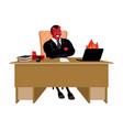 red demon boss at job table satan leader sitting vector image