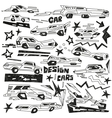 super cars - doodles vector image
